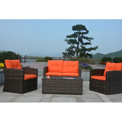 Dursley 4 Piece Seating Group with Cushions Fabric: Orange