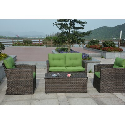 Dursley 4 Piece Seating Group with Cushions Fabric: Green