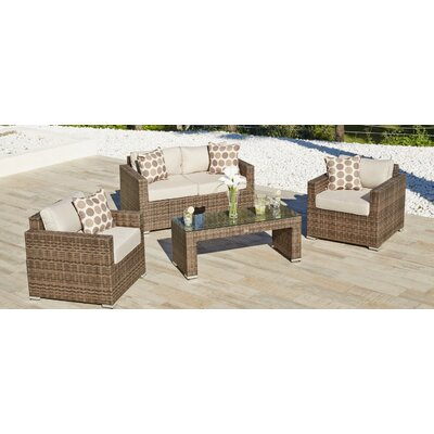 Georgiana 4 Piece Rattan Sofa Seating Group with Cushion