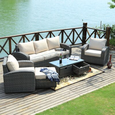 Belmonte 5 Piece Deep Seating Group with Cushion Frame Finish: Gray