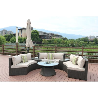 Sidwell 6 Piece Rattan Sectional Set with Cushions Frame Finish: Black