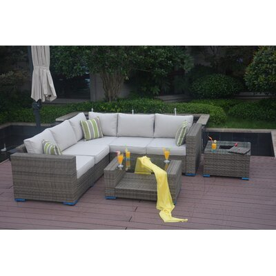 Northdale 4 Piece Rattan Sectional Set with Cushions