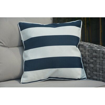 Beckett Zippered Outdoor Throw Pillow Color: White/Blue