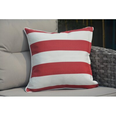 Beckett Zippered Outdoor Throw Pillow Color: White/Red