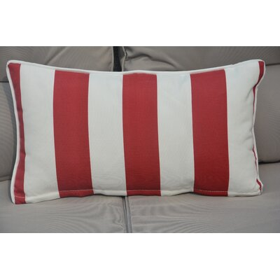 Bedford Rectangular Zippered Striped Outdoor Lumbar Pillow Color: White/Red