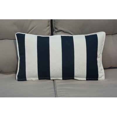Bedford Rectangular Zippered Striped Outdoor Lumbar Pillow Color: White/Blue