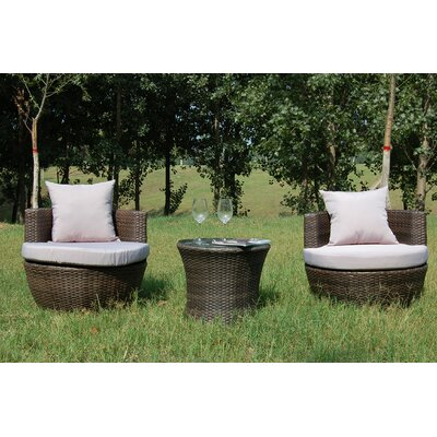 Buck 3 Piece Rattan Conversation Set with Cushions