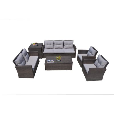 Baptist 6 Piece Rattan Conversation Set with Cushions