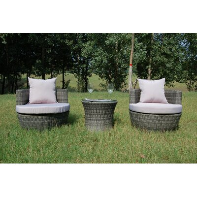 Buck 3 Piece Rattan Sofa Set with Cushions Frame Finish: Gray