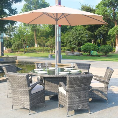 Anntonette 7 Piece Dining Set with Umbrella Color: Gray