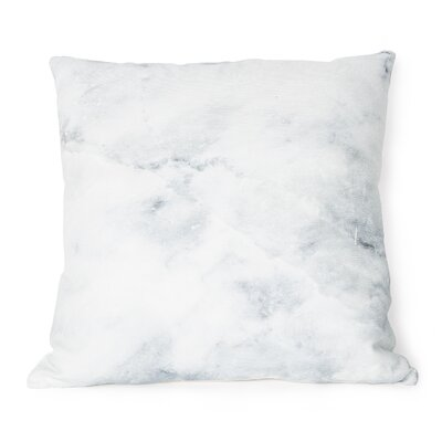 Printed Marble Cotton Throw Pillow Color: White