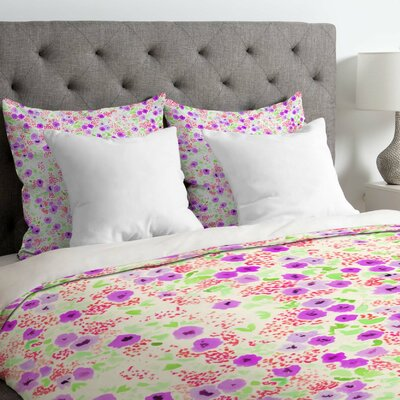 Faded Floral Duvet Cover Size: Queen