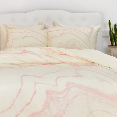Blush Marble Duvet Cover Size: King