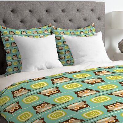 Heather Dutton Owl Town Duvet Cover Size: Queen