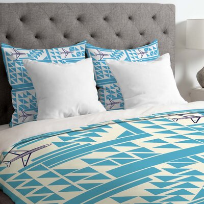 Airplanes and Triangles Duvet Cover Size: Twin/Twin XL