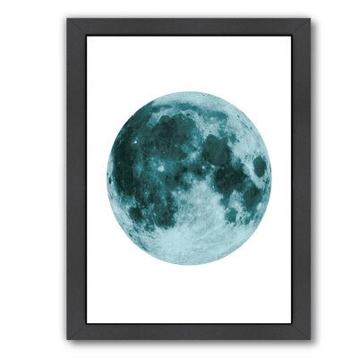 """Moon Framed Graphic Art in Blue Size: 11"""" H x 9"""" W x 1"""" D EUNH3114 33348668"""