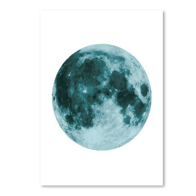 """Moon Graphic Art in Blue Size: 14"""" H x 11"""" W EUNH3124 33348705"""