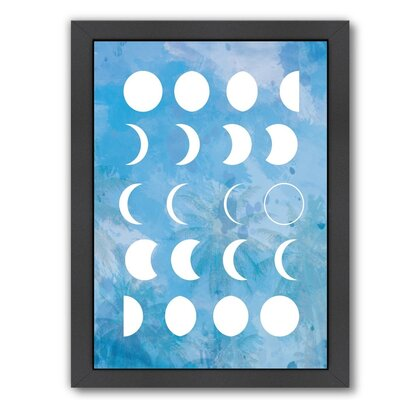 """Moon Phases Framed Graphic Art in Blue Size: 16.5"""" H x 13.5"""" W x 1.5"""" D EUNH3157 33348839"""