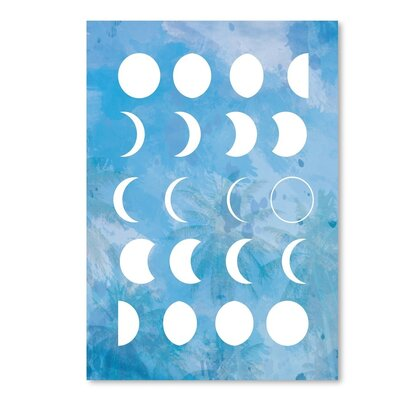 """Moon Phases Graphic Art in Blue Size: 14"""" H x 11"""" W EUNH3273 33349117"""