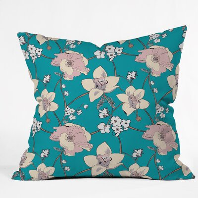 Turquoise Painted Poppy Indoor/Outdoor Throw Pillow Size: 16 H x 16 W x 4 D