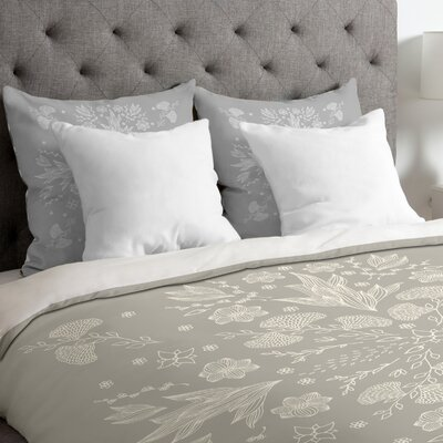 White Floral Duvet Cover Size: King