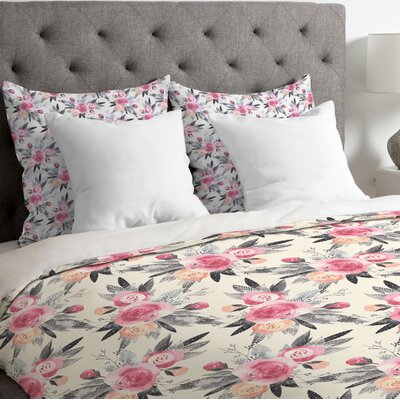 Snow Rose Duvet Cover Size: Queen