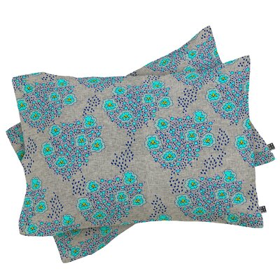 Boho Turquoise Floral Pillowcase