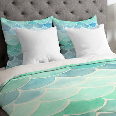 Mermaid Scale Duvet Cover Size: Queen