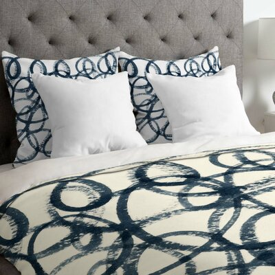 Navy Swirls Duvet Cover Size: Queen