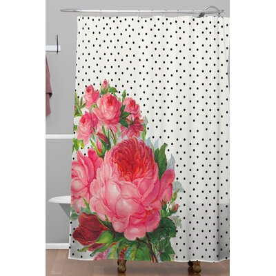 Floral Polka Dot Shower Curtain