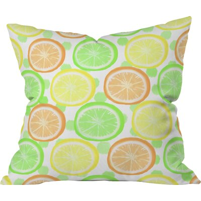 Citrus Wheel and Dot Fleece Throw Pillow