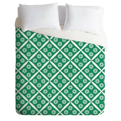 Crosshatch Flower Duvet Cover Size: King