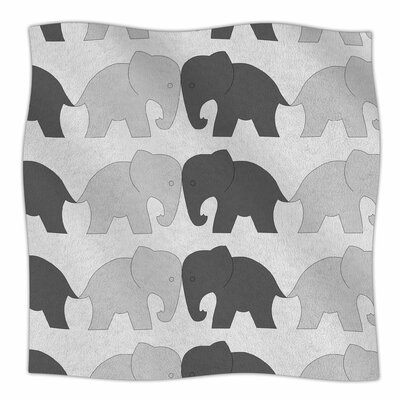 Elephants On Parade By NL Designs Fleece Blanket Size: 60 L x 50 W x 1 D, Color: Gray