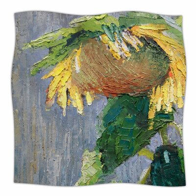 Lonely Sunflower By Carol Schiff Fleece Blanket Size: 80 L x 60 W x 1 D