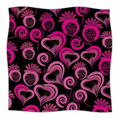 Sweet Love by Maria Bazarova Fleece Blanket Size: 60 W x 80 L, Color: Pink/Black