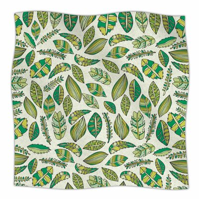 Tropical Botanicals 2 By Pom Graphic Design  Fleece Blanket Size: 60 L x 50 W x 1 D, Color: Green/White