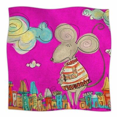 Urban Mouse by Carina Povarchik Fleece Blanket Color: Magenta, Size: 60 W x 80 L