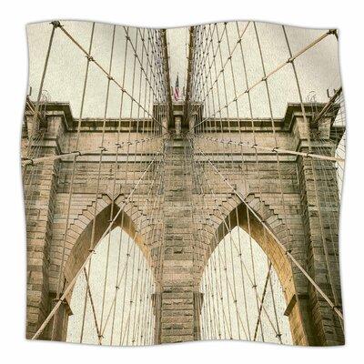 Brooklyn Bridge Sunset By Ann Barnes Fleece Blanket Size: 80 L x 60 W x 1 D