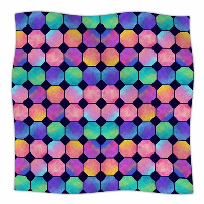 Colorful Watercolor Octagons By Noonday Design Fleece Blanket Size: 60 L x 50 W x 1 D