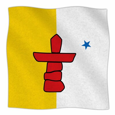 Flag Of Nunavut By Bruce Stanfield Fleece Blanket Size: 60 L x 50 W x 1 D