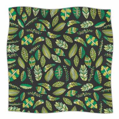 Tropical Botanicals 2 By Pom Graphic Design  Fleece Blanket Size: 60 L x 50 W x 1 D, Color: Green/Black