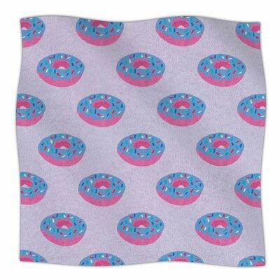 Doughnut Heaven By Vasare Nar Fleece Blanket Size: 80 L x 60 W x 1 D, Color: Lilac/Blue/Pink