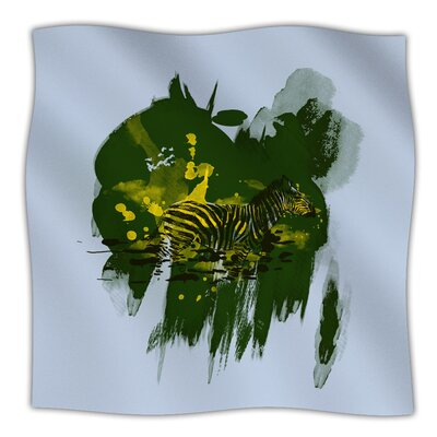 Watercolored Frederic Levy Hadida Fleece Blanket Size: 90 W x 90 L, Color: Green