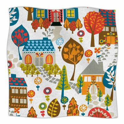 In The Village By Agnes Schugardt Fleece Blanket Size: 80 L x 60 W x 1 D