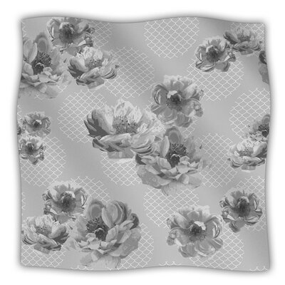 Lace Peony in Gray By Pellerina Design Fleece Blanket Size: 40 L x 30 W, Color: Gray