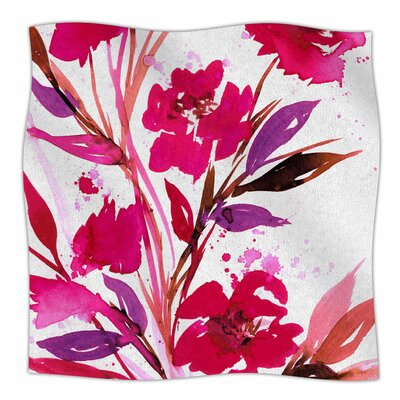 Pocket Full Of Posies By Ebi Emporium Fleece Blanket Size: 80 L x 60 W x 1 D, Color: Pink