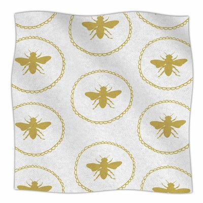 Busy As A Bee By Jennifer Rizzo Fleece Blanket Size: 60 L x 50 W x 1 D, Color: White/Maize