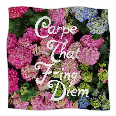 'Carpe That F-ing Diem' By Chelsea Victoria Fleece Blanket Size: 80