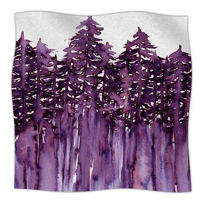 Forest Through The Trees By Ebi Emporium Fleece Blanket Size: 60 L x 50 W x 1 D, Color: Purple/White