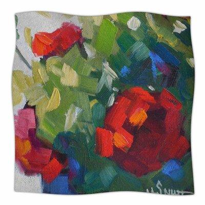 Cheerful Geranium By Carol Schiff Fleece Blanket Size: 80 L x 60 W x 1 D